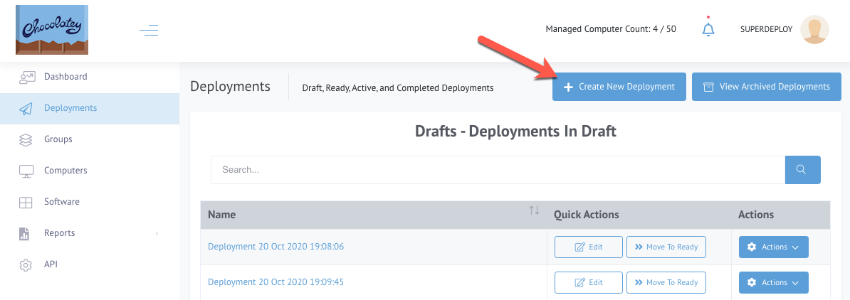 CCM Deployments page, arrow pointing to Create New Deployment button