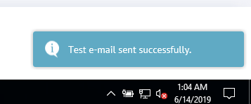Test email sent successfully