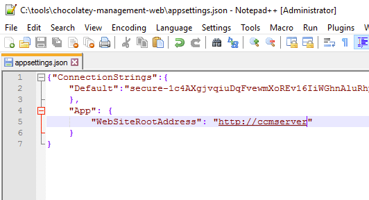 Modified appsettings.json file