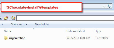 Windows Explorer showing the installation location for a new template with the name of Organization