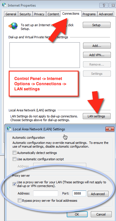Two screenshots showing the Internet Explorer settings for System Level Proxy configuration